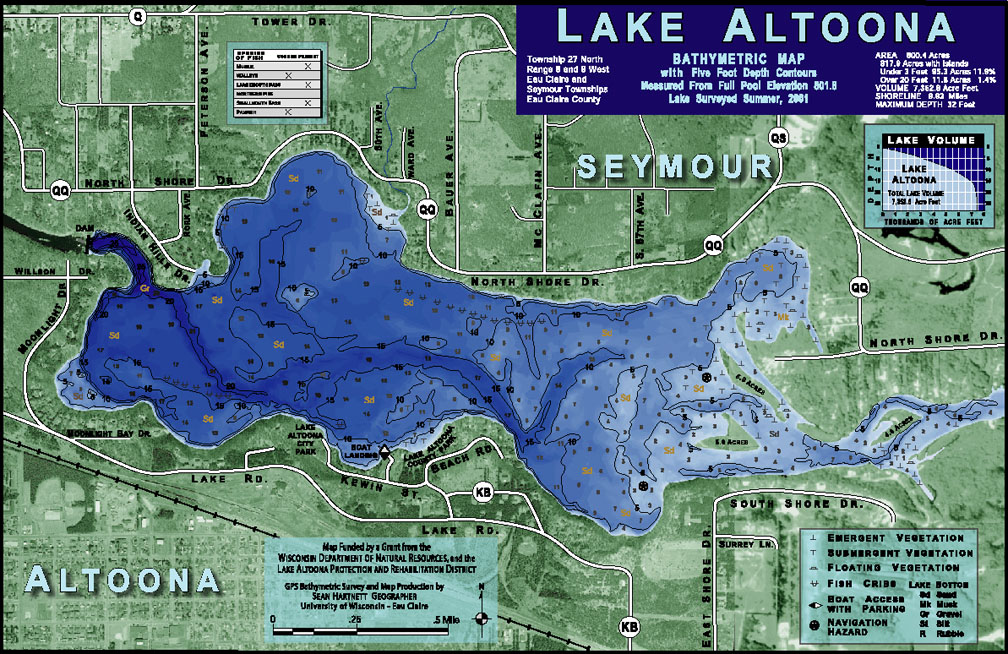 lake eau claire map Sean Hartnett Lake Altoona Bathymetric Map lake eau claire map