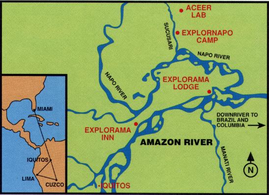 Iquitos And The Amazon River In Peru - World map showing amazon river