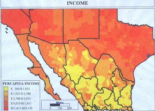 Mexican Economic Migration - Mexico in usa map