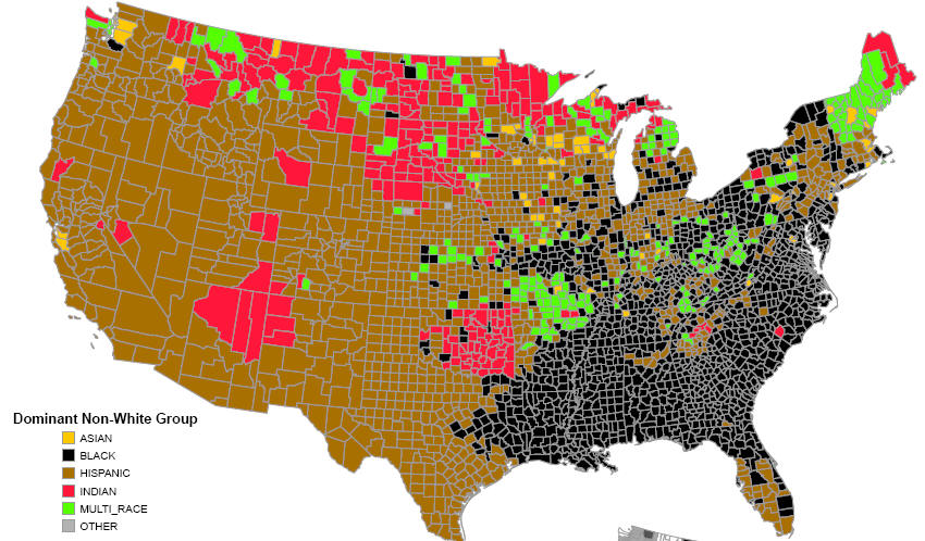 the other map adds the percentage of each non white racial group of the total population in each county