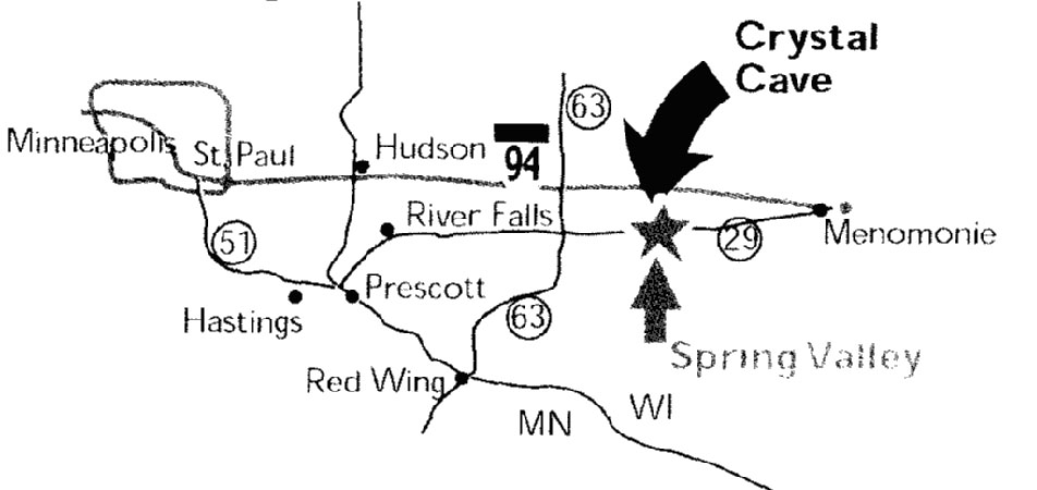 GEOG 360 Fall 2004-Crystal Cave Caves In Wisconsin Map on