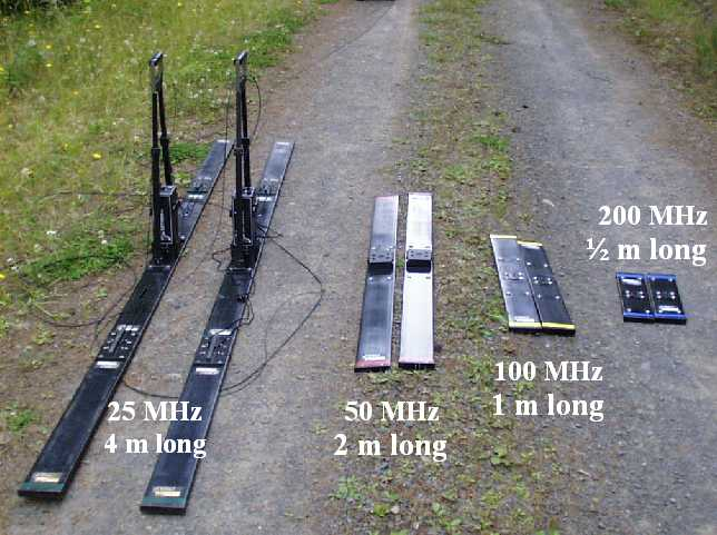 Figure 2. GPR antennae with frequencies and length labeled. Handles ...