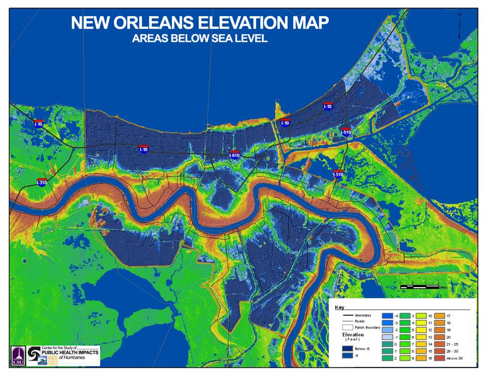 Elevation Map Of New Orleans Why New Orleans is Vulnerable